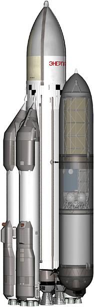 """РН """"Энергия"""" с транспортным контейнером. Контейнер изображен условно полупрозрачным, внутри видна полезная нагрузка - спутник связи со сложенными антеннами и панелями солнечных батарей (сверху), и разгонный блок """"Смерч"""" (снизу)"""
